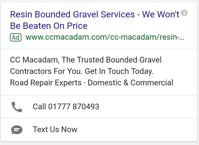 CC Macadam Google Ads With Message Extension