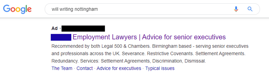 Incorrect Google Ad Showing For Lawyer