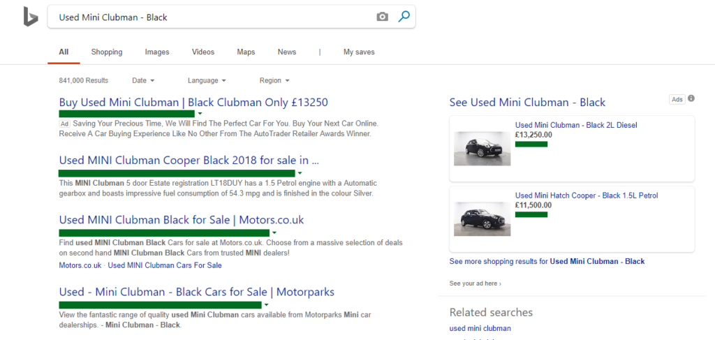 Fig 1 Used Mini Clubman on Bing Shopping