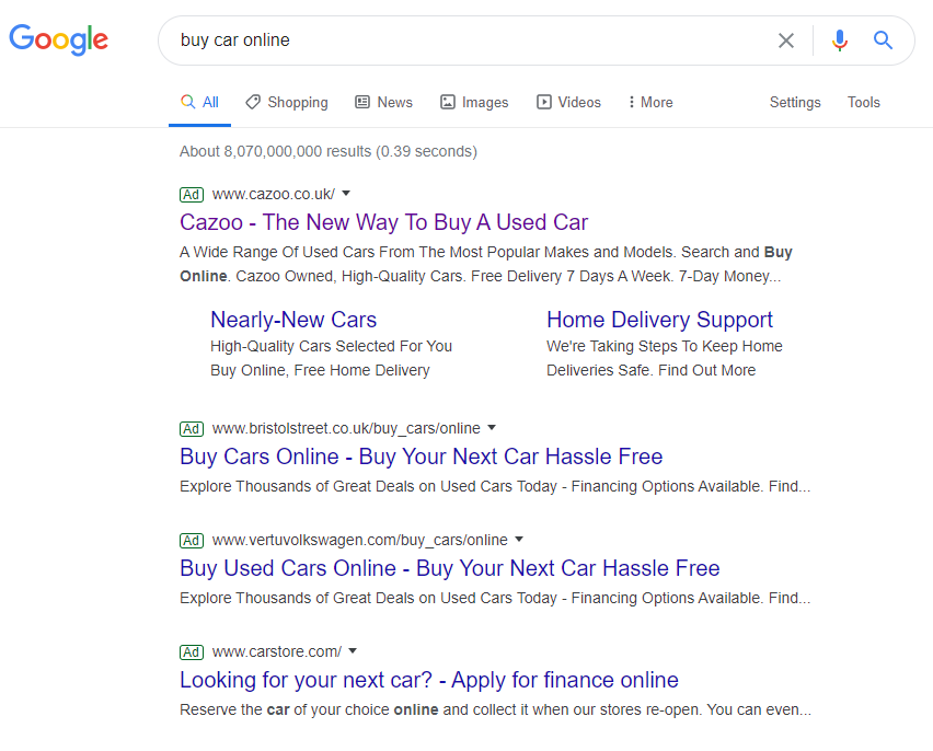 Fig 10 Advertisers target 'buy cars online' on the Google Search Engine