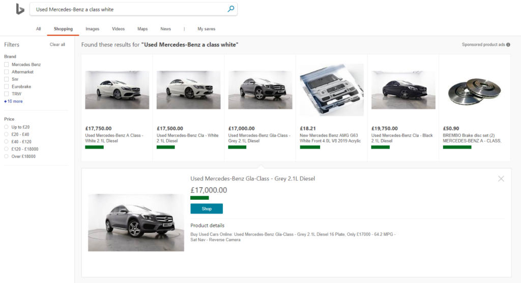 Fig 2 Used Mercedes Benz on Bing Shopping