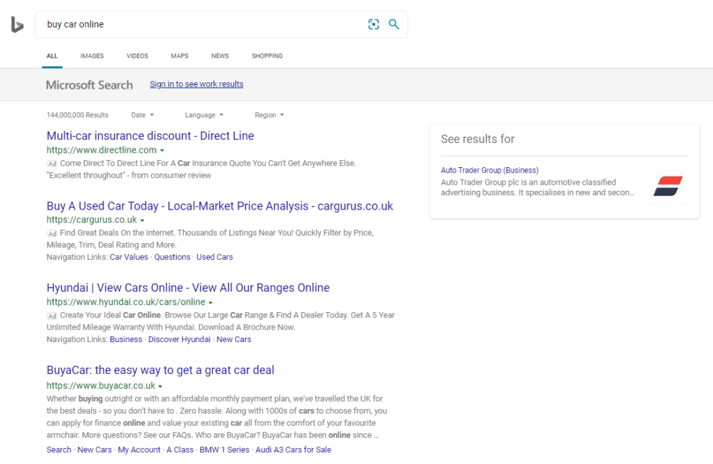 Fig 3 Advertisers target 'buy cars online' on the Bing Search Engine